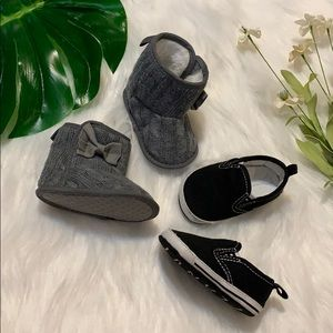 Baby girl grey knit boots and black slip ons